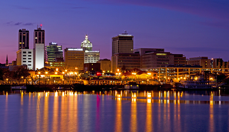 The Peoria skyline at night